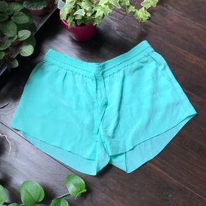 Aritzia Wilfred silk turquoise lightweight shorts